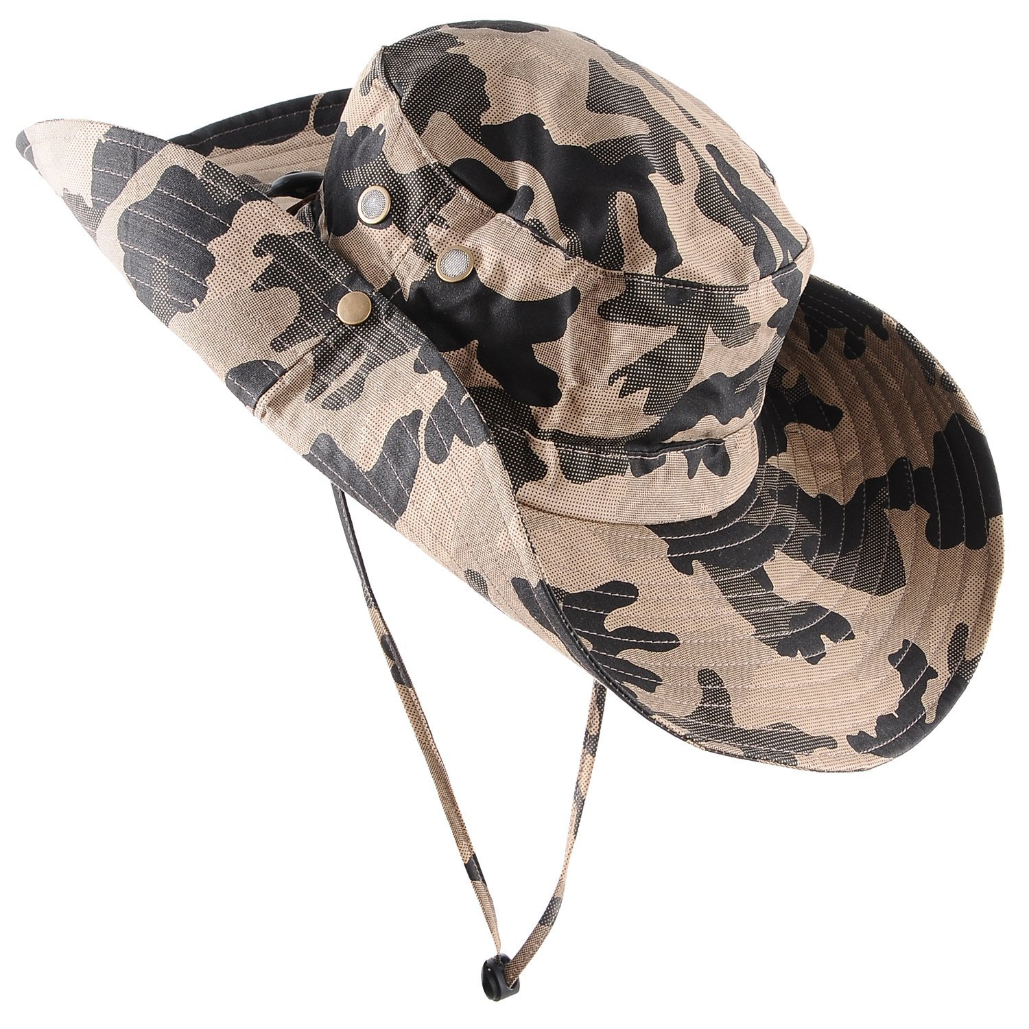 eab71928d79 Micoop Wide Brim Military Camouflage Hat Summer Fishing Hunting Camping  Hiking Cap Outdoor Sun Hat Boonie Hat