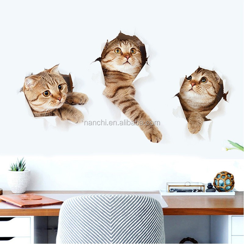 3D Small cat cute animal wall sticker Living room wall decor kindergarten features removable wall stickers