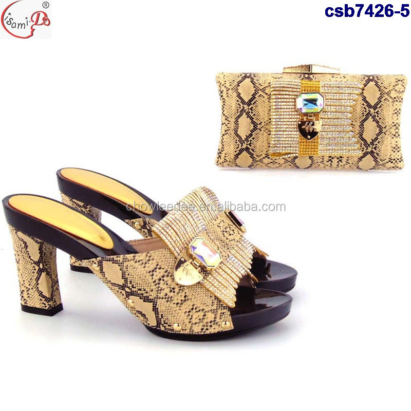 Wholesale price italian wedding and party matching shoes and bag set csb7426-4
