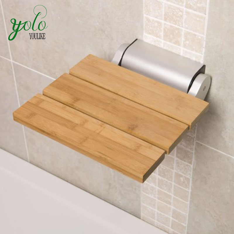 Wall Mounted Foldable Bathroom Bamboo Shower Seat