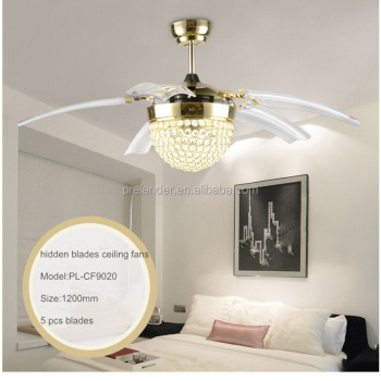 Ceiling fan hidden blades transparent crystal 5 blades golden ceiling fan hidden blades transparent crystal 5 blades golden decorative led ceiling fan light with folding mozeypictures Choice Image