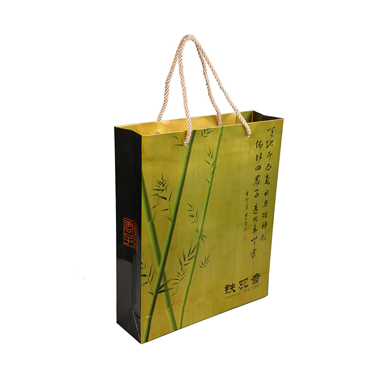 Hot sale custom foldable durable tea packing promotional paper bag with handle