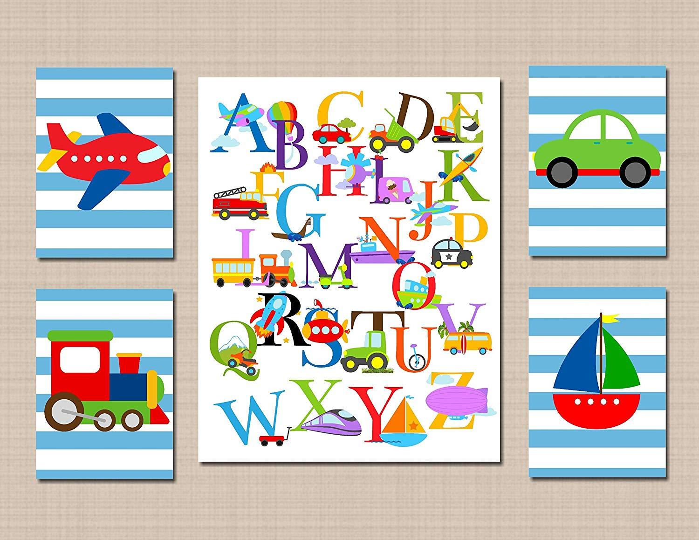 Get Quotations Transportation Nursery Wall Art Kids Room Décor Alphabet Cars Planetrain Boat