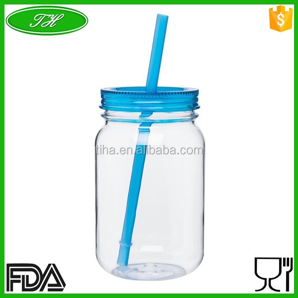 24oz new design plastic mason jar without handle