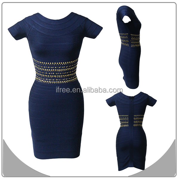 abito blu scuro shinny bodycon bordare abiti da cocktail formale con maniche corte