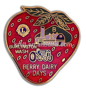 Custom soft red strawberry badge/medal/pin+fast delivery