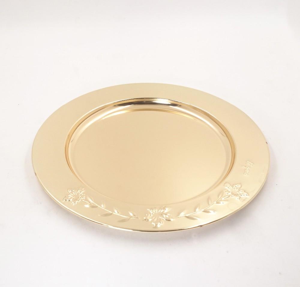 China Wholesale Bulk Elegant Stainless Steel Serving Platter 28cm Gold Charger  Plate For Wedding Restaurant