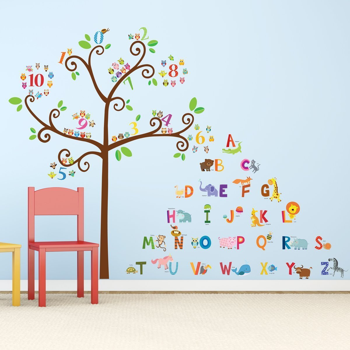 MOQ 500 4C Printing Kids Decoration Pvc Colorful Wall Stickers Tree Home Decor