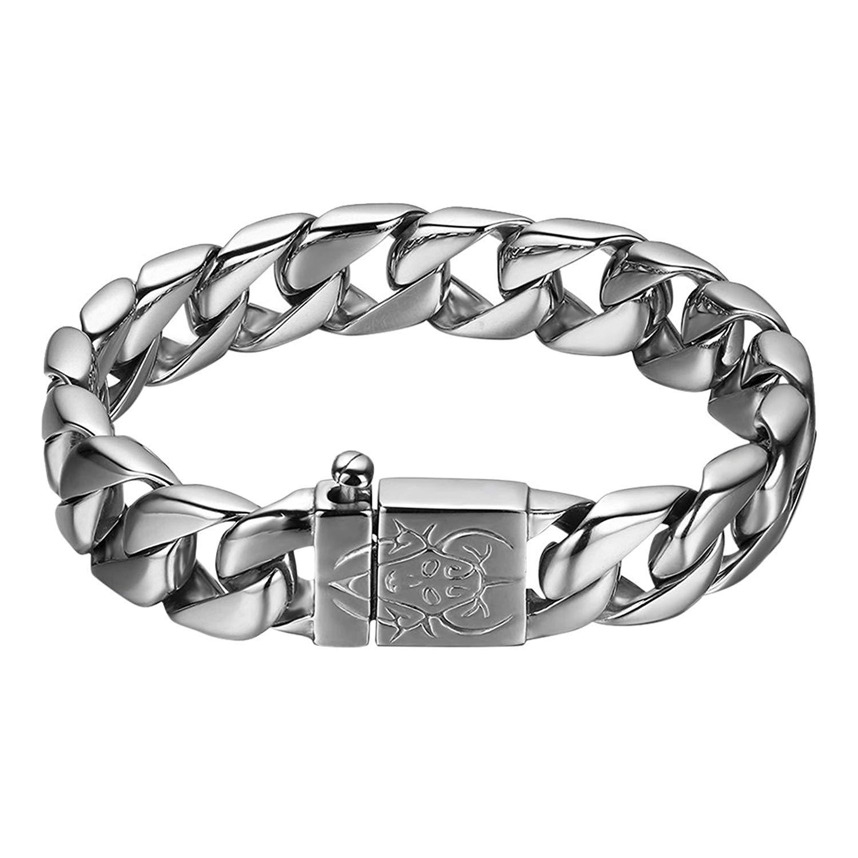 Oidea Mens Stainless Steel 15MM Wide Heavy Gothic Biker Bangle Cuff Bracelet,9 Inch
