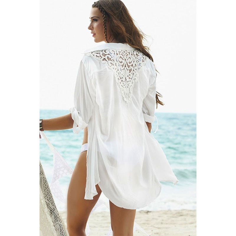 98c368beca Get Quotations · Newest Turn Down Collar Casual Beach Long Sleeve Shirt  Women White Blouse Sexy Chiffon Top Women