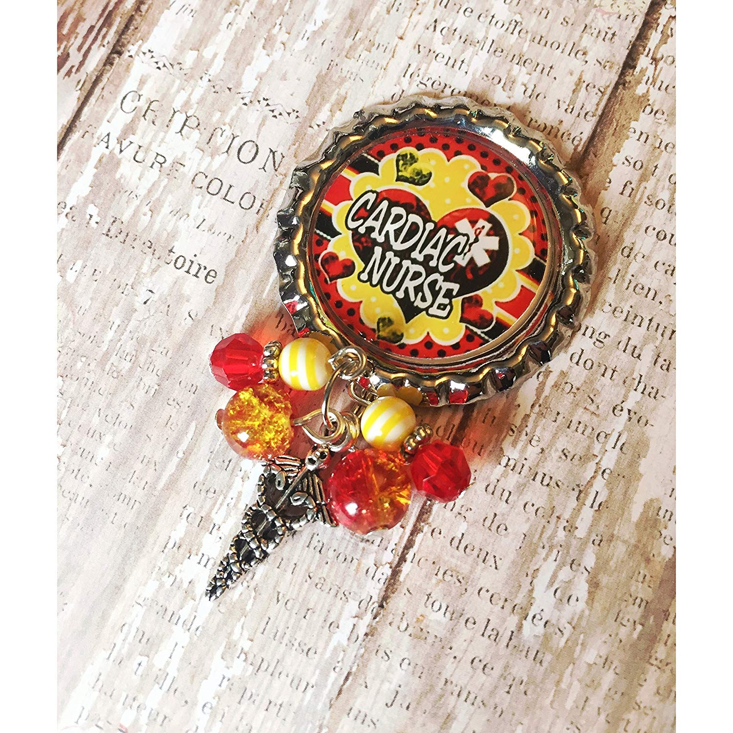 Nurse cardiac, OR Nurse, CMA medical assistant spring clip Badge ID holder with retractable reel with red and yellow beads and choice of charm