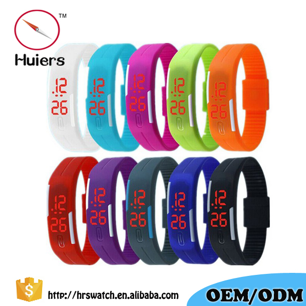 Touch Screen LED Square Silicone Watches Digital Wrist Watch Men Rubber Band