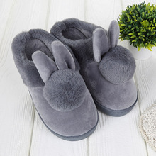 Lovely Rabbit ears Soft Home Slippers Cotton Warm Women's Winter Slippers Casual Indoor Slippers