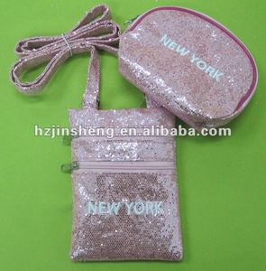 Custom shape Royal pink sequin wallet for women