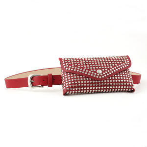 Women PU rivet pocket custom silver studded brown belt