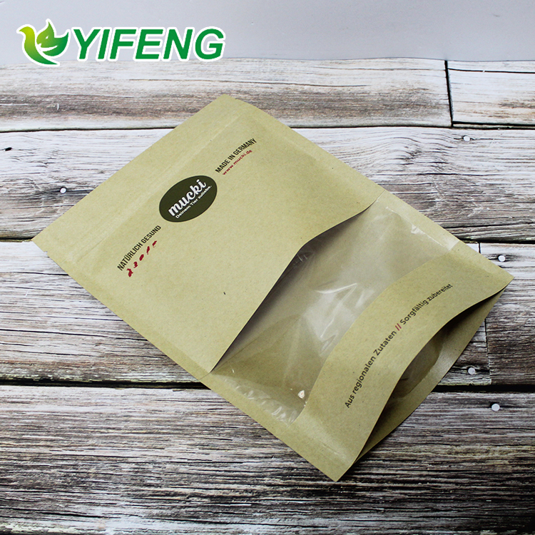 Customized printed ziplock stand up kraft paper bags with clear window for food packing