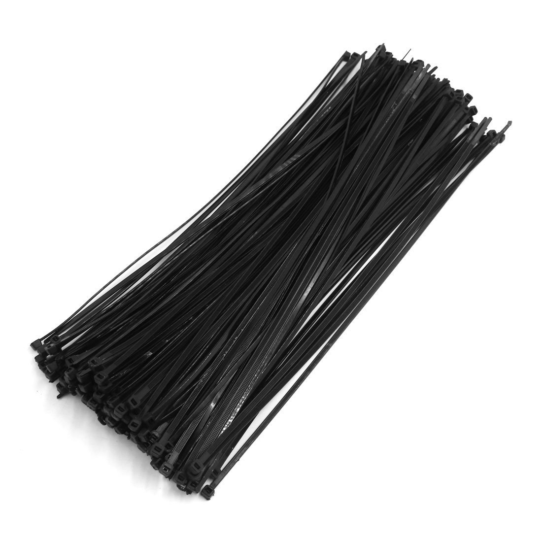 uxcell 5mm x 350mm Black Nylon Winged End Push Mount Electrical Cable Ties 250Pcs