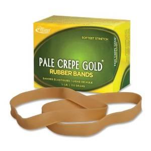 """Wholesale CASE of 25 - Alliance Pale Crepe 1/4lb Box Gold Rubber Bands-Rubber Bands,Size 107,1/4lb,7""""x5/8"""",Approx. 60/BX,NL"""