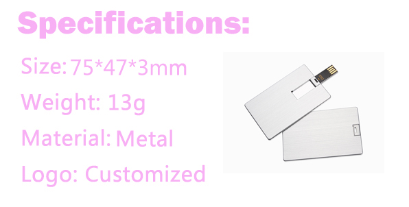 High Quality Metal Business Credit Card USB Flash Drive with Custom Logo Print 16GB Pendrive