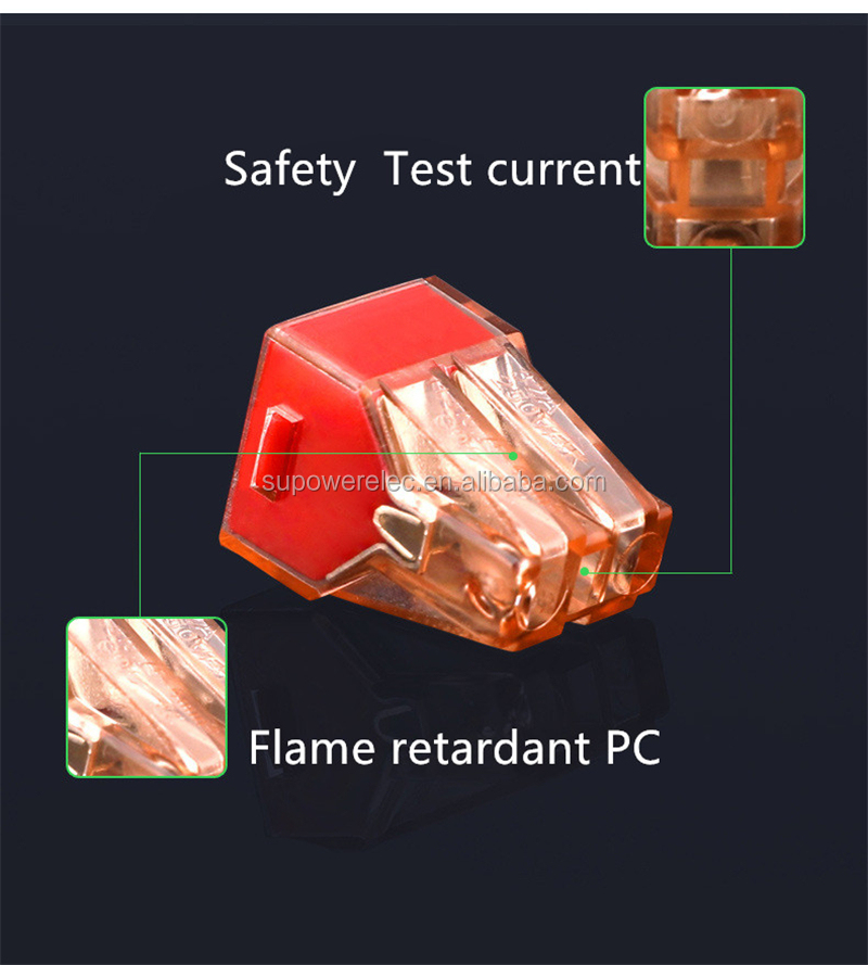Flame retardant Transparent Housing PCT-604 4 Pin Push Plug In Quick Connect Wire Connector