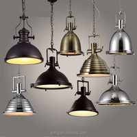 Nordic vintage Industrial loft hanging lamp iron gold black chrome loft pendant light