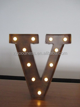 vintage metal lighted marquee letters v 13 34