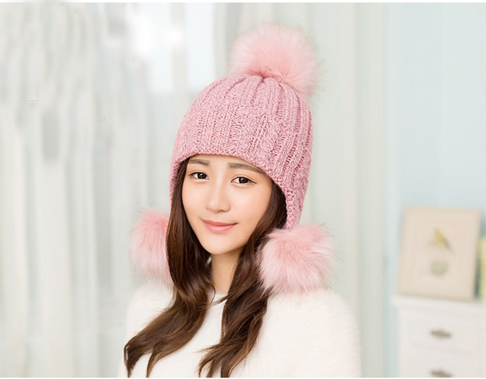 0eca56ef0ef XIDUOBAO Ski Hat Winter Slouchy Women Girls Fluffy Knit Hat Crochet Winter  Warm Snow Cap with