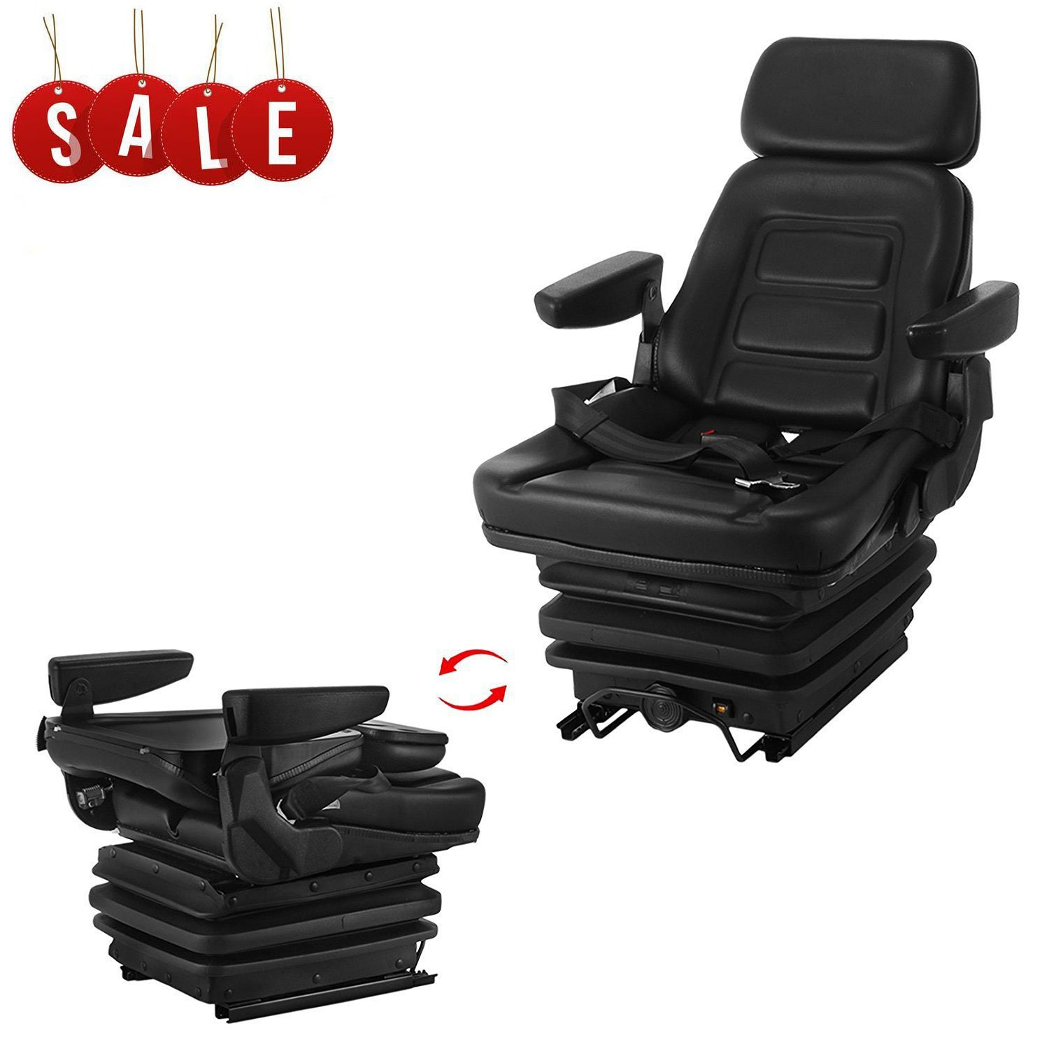 Happybuy Universal Pro Seat and Suspension Seat with Adjustable Armrest Industrial Forklift Vinyl Seat with High Shock Absorption for Riding Mowers Tractors Excavator Trenchers Wheel Loader