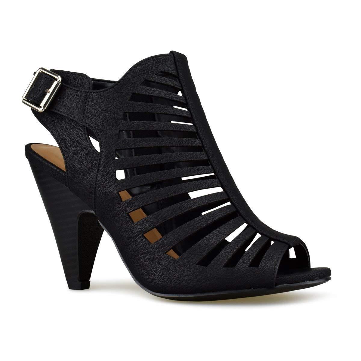 Premier Standard Women's Strappy Open Toe High Heel - Sexy Stacked Wood Sandal - Vegan Leather Cutout Shoe