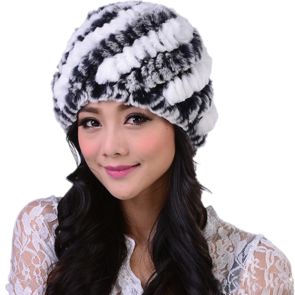2014 Winter 100% Real Natural Rex Rabbit Hair Fur Hat Ear Protector Cap Female Fur Thermal women covering cap lady winter hat
