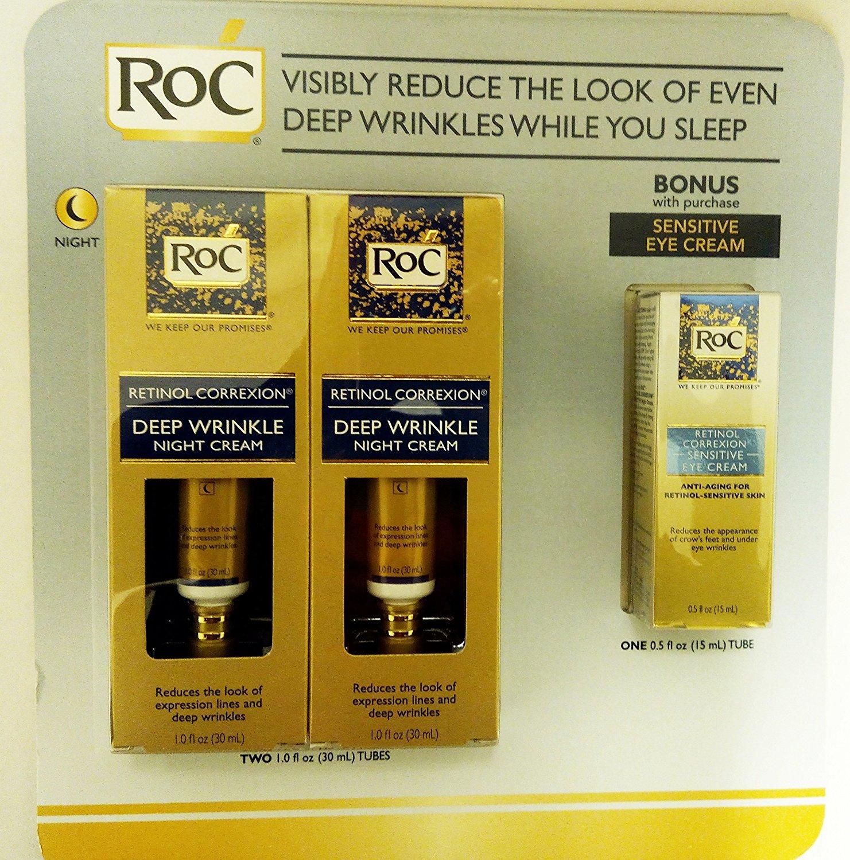 RoC Retinol Correxion Deep Wrinkle Night Cream 1 oz x 2 with Bonus Sensitive Eye Cream, 0.5 oz