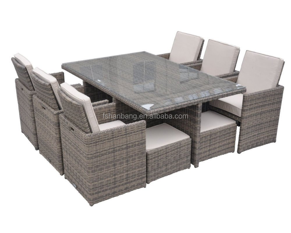 Outdoor Garden Patio 9 Piece Resin Wicker Dining Cube Table Chair Set