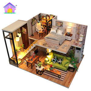 Free Sample Diy Wooden Dollhouse Kits Mini Dollhouse Diy Wood For Kid And Adults