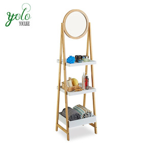 Bathroom 3 Tiers Ladder Shelf Standing Bamboo Storage Shelf with Mirror