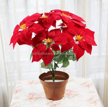 factory direct velvet poinsettia flowers christmas flower pots
