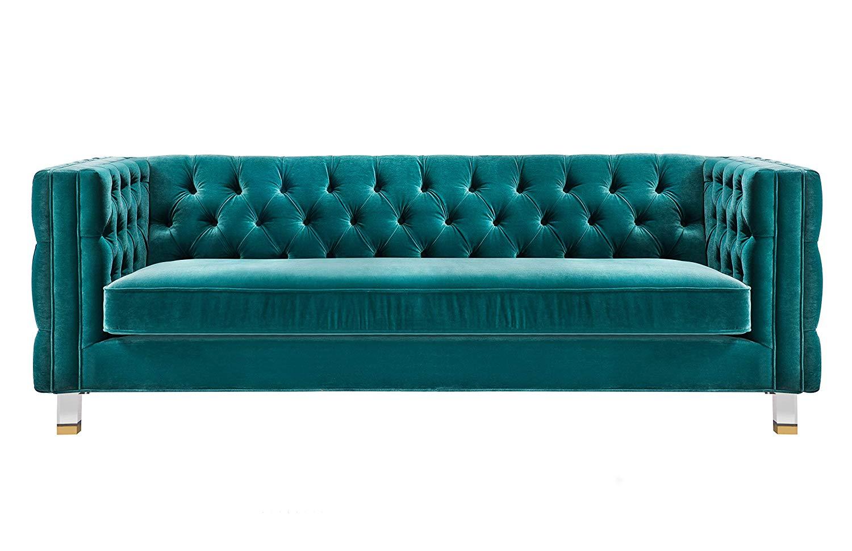 71c1c8f0c223d4 Get Quotations · TOV Furniture TOV-L4114 The Rimini Collection Modern Velvet  Upholstered Living Room Sofa, Green