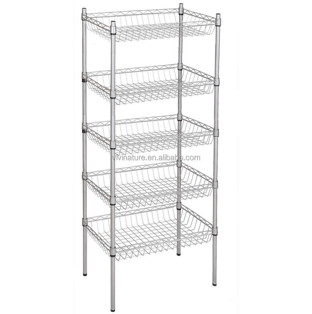 vivinature storage cart 3 tier wire kitchen shelf metal