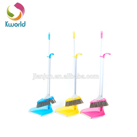 colour plastic broom set/handle broom/plastic cleaning dustpan with brush