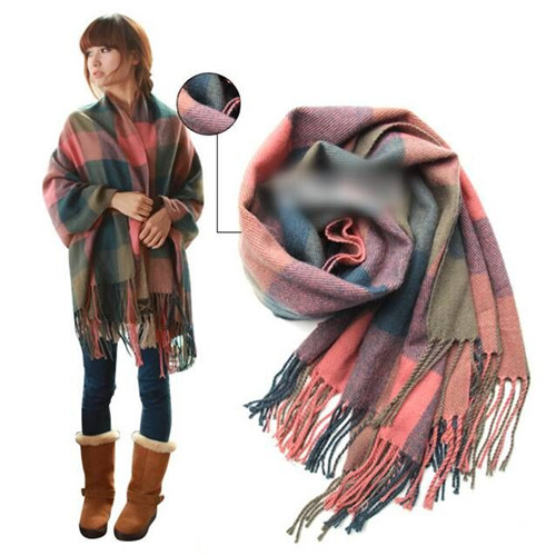 e3813a915 Get Quotations · 190*65cm Women Plaid Cashmere Scarf Large Shawl Big Plaid  Cashmere Wraps Wool Scarves Pashmina