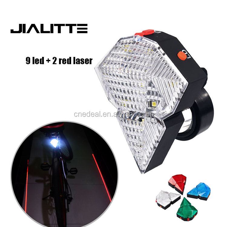 Jialitte B039 Cycling Red Laser Bike Rear Light Seatpost 9 White Led Bicycle Warning Back Lamp Battery Inside