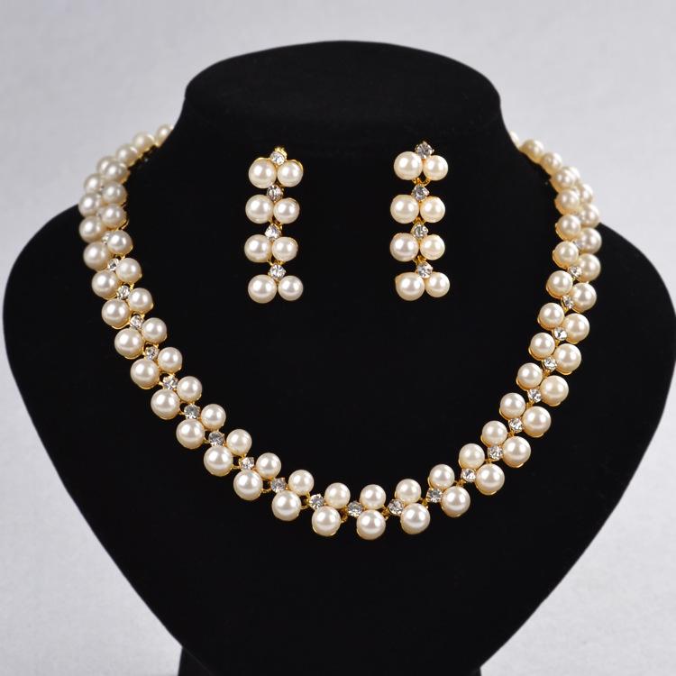 762995c69f46 Caliente venta de oro perla de color conjunto de joyas de moda collar de  perlas y