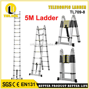 5m Multi Purpose Retractable Aluminium A Frame Shape Ladder 16 Steps ...