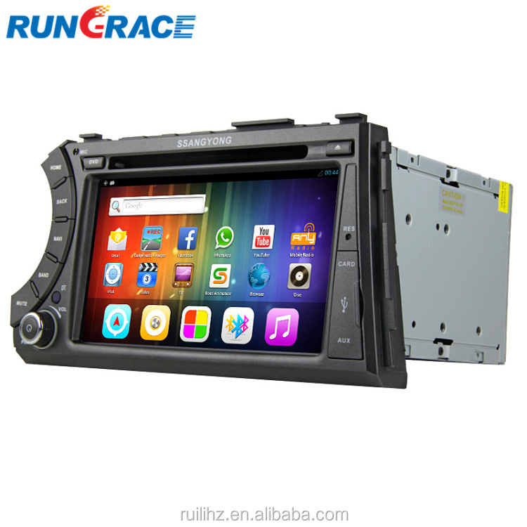 Android 2 din touch screen car radio gps for ssangyong korando sports