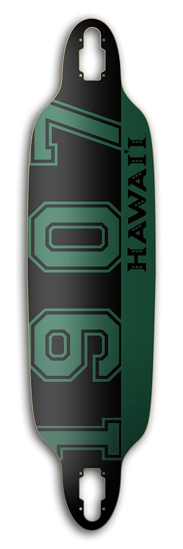 "ZtuntZ Skateboards University of Hawai'i ""1907"" Double Z Drop-Through 7-Ply Hard Rock Maple Longboard Deck, 9 x 36 x 28-Inch, Green/Black/Grey"
