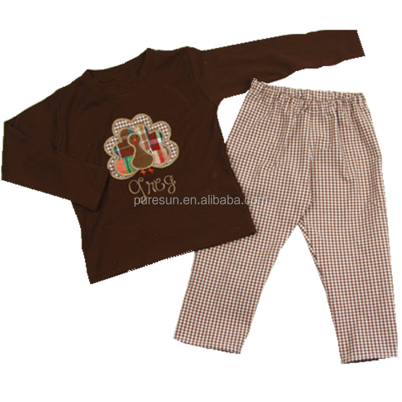b1740623e wholesale baby boys fall pant set children boy boutique halloween Thanksgiving  outfits toddler boy turkey embroidery