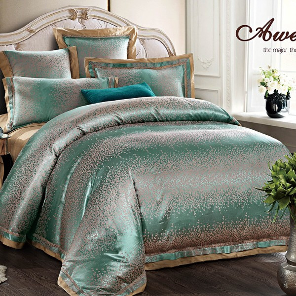 Queen Amp King Luxury Beige Silver Modern 6pcs Bedding Set