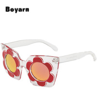 Transparent Flower Sunglasses Women Small Circle Lens Thick Glasses Rock Cat Eye Decorated Party Eyewear