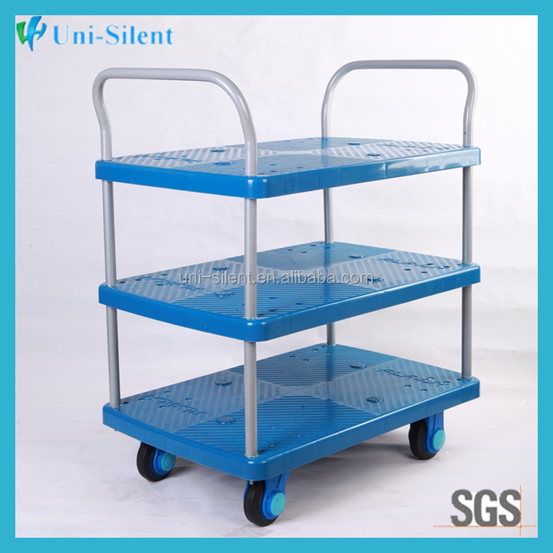 Three shelf hotel use hand trolley cart