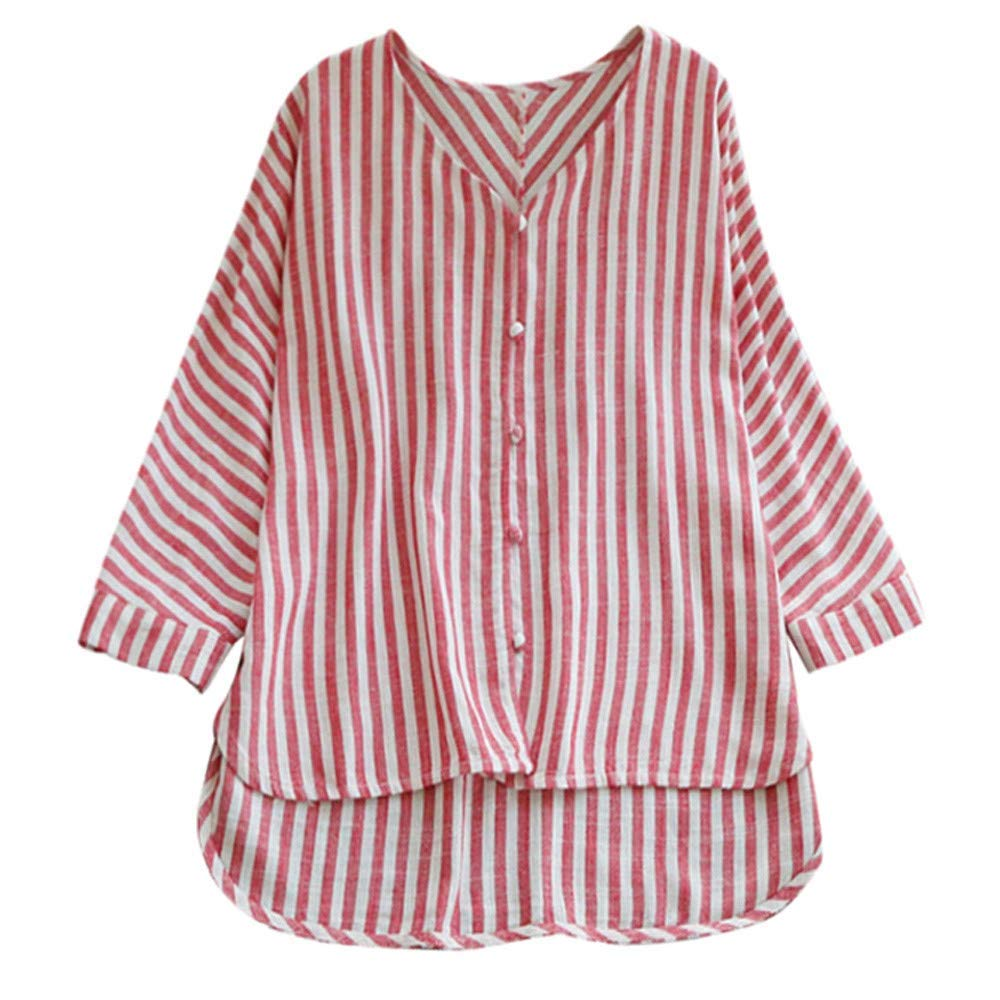 Clearance Women 3/4 Sleeve Striped Button Shirts, Casual T Shirt Blouse 4-10