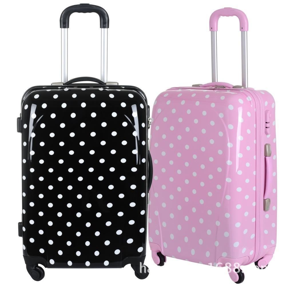 Cute Pink Polka Dot Girls Travel Suitcase,Girls Wheeled Custom ...